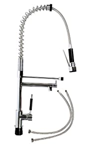 Industrial Kitchen Sink Or Bar Faucet W/ Single Handle U0026 Pull Out Spray