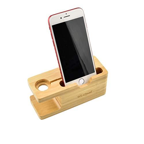 HI-QUAL Apple Watch Stand,Natural Bamboo Wood Charging Bracket,Charging Dock Station Cradle Holder,Apple Watch iPhone Charging Station Charging Dock Bamboo Wood Charger Stand for iPhone X 8 7 6 6S