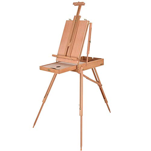 AHD French Easel Wooden Sketch Box Portable Folding Easel Case Art Artist Painters ()