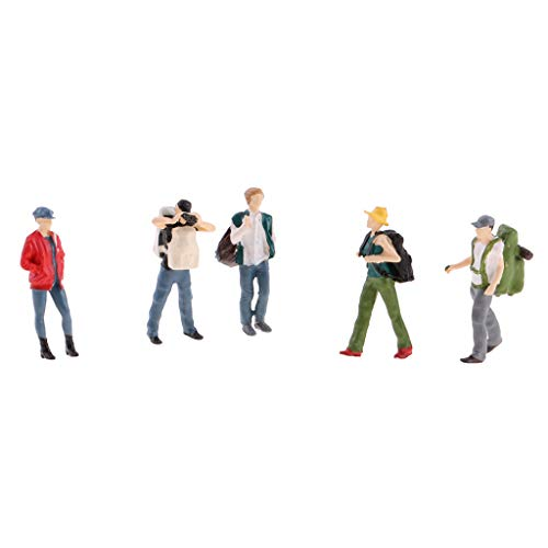(Flameer 5PCs 1:64 Scale Resin Painted Figures, Standing People Backpackers Layout for Miniature Scenes, C)