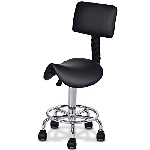 Giantex Hydraulic Salon Stool Rolling Saddle Chair with Backrest, Swivel Clinic Spa Massage Stool Chair, Adjustable Stool for Facial Spa Beauty Salons Office