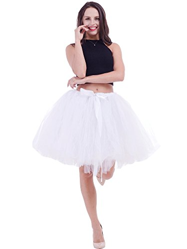 FOLOBE Women's Handmade Puffy Tutu Tulle Skirt Self Tie Free Waist Short Length in 19.7in/50CM White