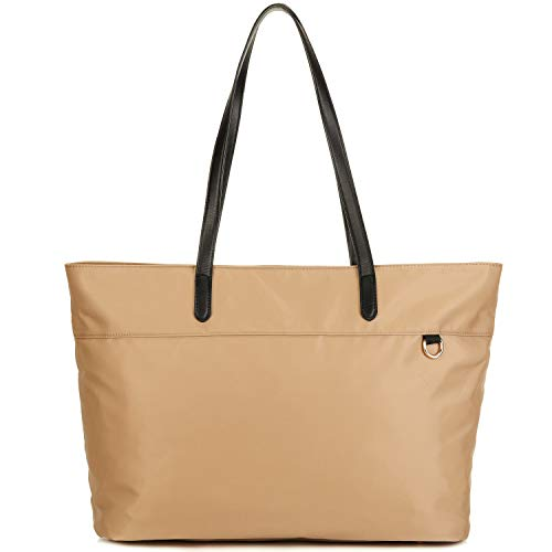 Nylon Shopping Tote Bag with Microfiber Leather Handles, Trolley Strap, Multiple Pockets and Key Clasp for Women (Khaki)