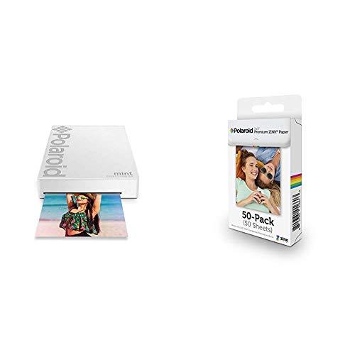 Polaroid Mint Wireless Mobile Photo Mini Printer (White) with Polaroid 2x3ʺ Premium Zink Zero Photo Paper 50-Pack