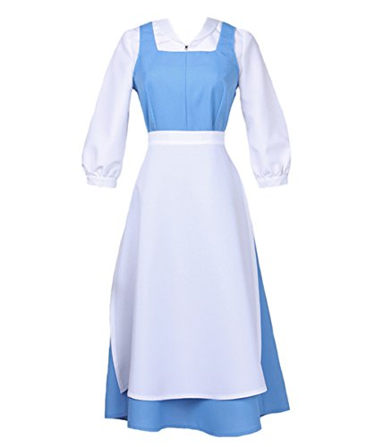 Angelaicos Women's French Apron Maid Dress Cosplay Costume (S, Blue)