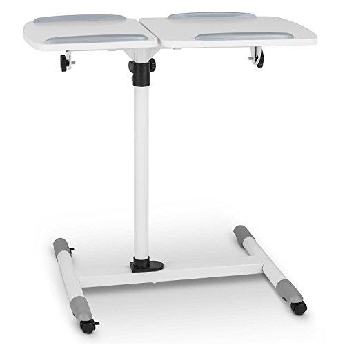 FrontStage TS-5 Beamertisch Medienwagen für Beamer Laptops und Projektoren mit 2 Ablageflächen (max. 10 kg, höhenverstellbar, neigbar, mit 360° Rollen bremsbar) weiß