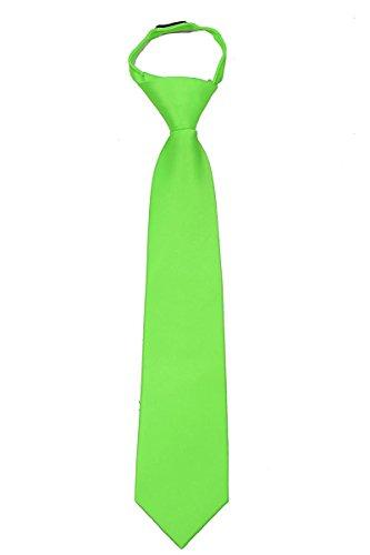 Lime Green Necktie (Kids Solid Color Zipper Tie 14 inch Boys Zipper Neckties Children Wedding Tie (Lime))