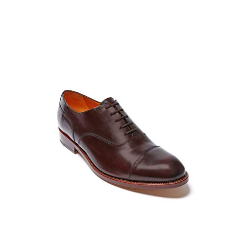 Scarpa Stringata Francesina con Decorazione Toe cap di Colore Testa di Moro. Toe cap Oxford Dark Brown Goodyear. Uomo.