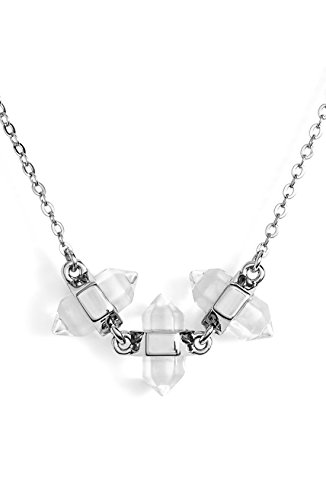 Rebecca Minkoff Triple Stone Pendant Necklace (Rhodium Plated)
