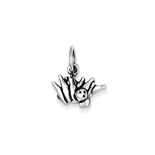 .925 Sterling Silver Antique Bowling Ball and Pins Charm Pendant ()
