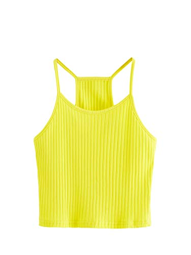 SheIn Women's Summer Basic Sexy Strappy Sleeveless Racerback Crop Top Large Light Yellow