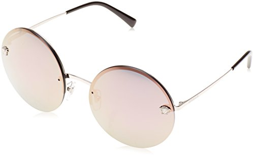 Versace Women's Round Medusa Sunglasses, Pale Gold/Brown, One - Rimless Versace Glasses