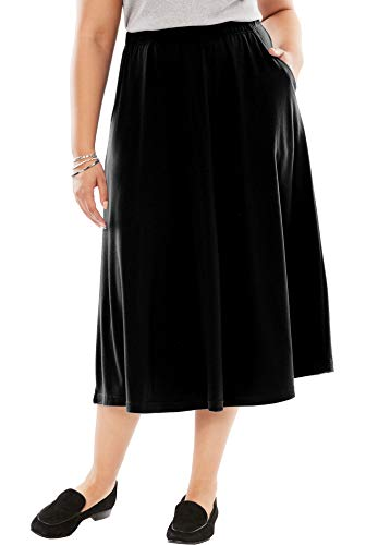 (Woman Within Women's Plus Size 7-Day Knit A-Line Skirt - Black, 4X)