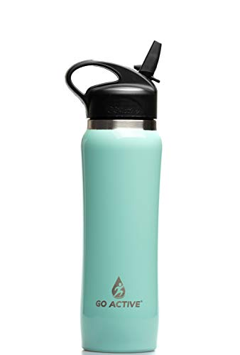 (GO Active Insulated Water Bottle with Straw. Stainless Steel Fitness Bottles with Double Walled Vacuum Insulation are Leak Proof, BPA Free Great for Yoga and Keep ice 24 Hours! (16 oz, Mint))