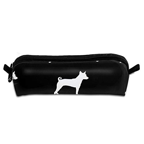 (shirt home Basenji Silhouette Dog Black Pencil Bag Pencil Case Pen Zipper Bag Pouch Holder Makeup Brush Bag for School Work Office 8.3 x 2.2 x 2)