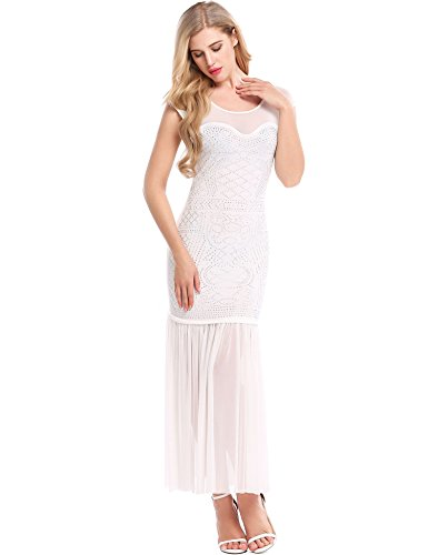 [Meaneor Women 1920s Vintage Rhinestone Embellished Dress Maxi Gatsby Club Flapper Dress W S] (Dresses From The 1920s)