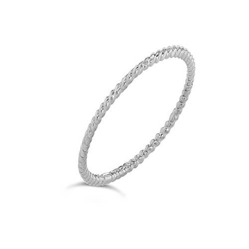 Dainty 10k White Gold Stackable Thin Rope Ring (Size 6.25)