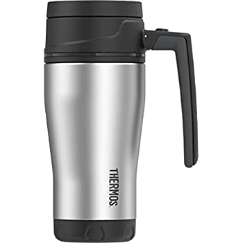 Thermos ELEMENT5 16 Ounce Vacuum Insulated Stainless Steel Travel Mug, Black/Gray