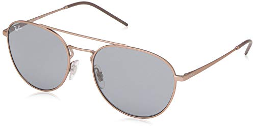 Ray-Ban RB3589 Square Metal Sunglasses, Rubber Copper/Grey, 55 mm ()