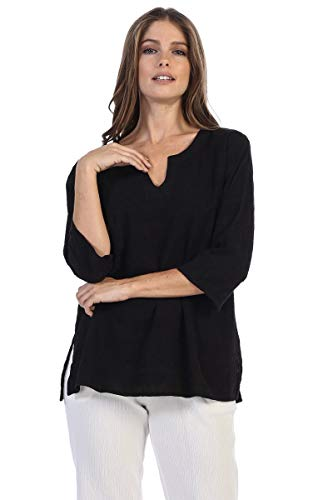 Embroidered Cotton Voile Tunic Top in Black ()