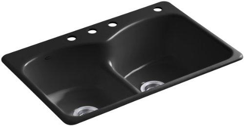 KOHLER K-6626-4-7 Langlade Smart Divide Self-Rimming Kitchen Sink, Black Black