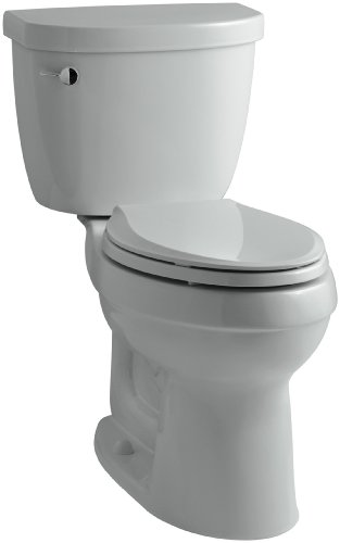 - KOHLER K-3609-95 Cimarron Comfort Height Elongated 1.28 gpf Toilet with AquaPiston Technology, Less Seat, Ice Grey
