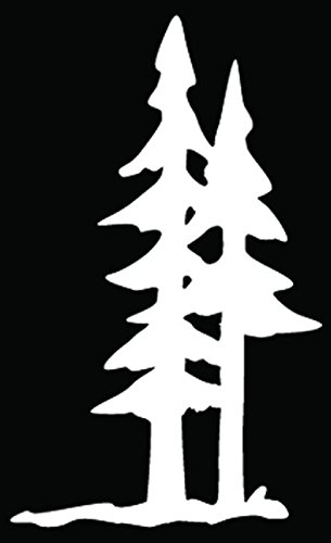 Pine Trees Forest Mountain Car Truck Window Bumper Vinyl Graphic Decal Sticker- (6 inch) / (15 cm) Tall GLOSS WHITE (Pine Window)