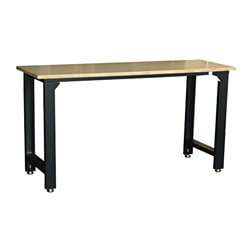 "HomCom 65"" Steel Garage Workbench with Wooden Top"