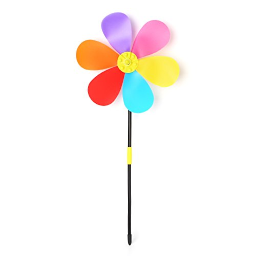 EA-STONE 2 Pcs Colorful Flower Spring Windmill,DIY Wind Spinner Windmill For Kids Toy (2 Windmill Wall 1 Decor)