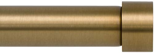 Ivilon Drapery Window Curtain Rod - End Cap Style Design 1 Inch Pole. 48 to 86 Inch Color Warm Gold