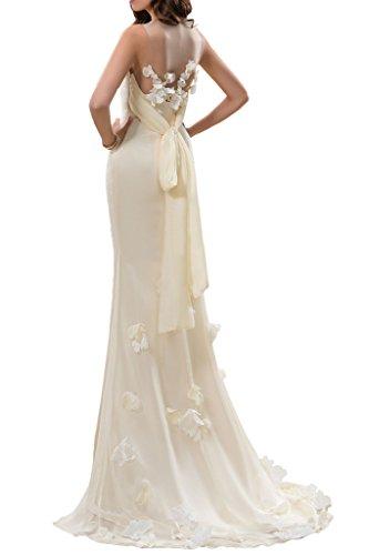 Milano Bride Schlicht Rundkragen Etui Hochzeitskleider Brautkleider Blumen Band Lang