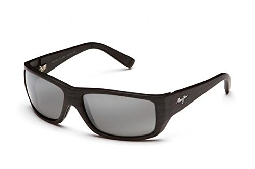 Maui Jim Wassup 123-02W | Polarized Matte Black Wood Grain Wrap Frame Sunglasses, Patented PolarizedPlus2 Lens Technology
