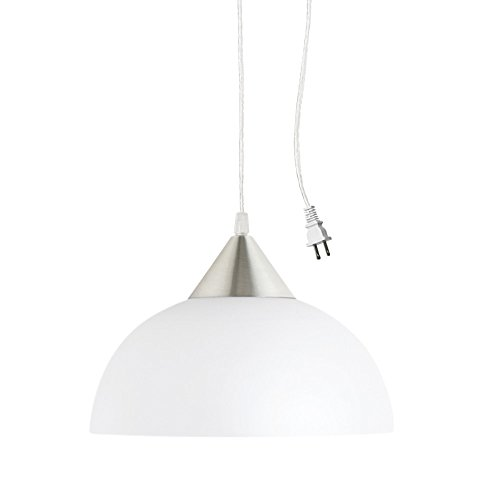 Globe Electric 64413 Amaris 1-Light Plug-In Pendant, Brushed Steel with Frosted White Shade