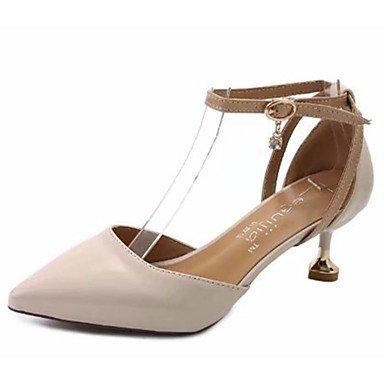 AIURBAG Damen High Heels Walking Komfort PU Sommer Normal Schnalle Stöckelabsatz Beige Gelb Grün 7 5-9 5 cm