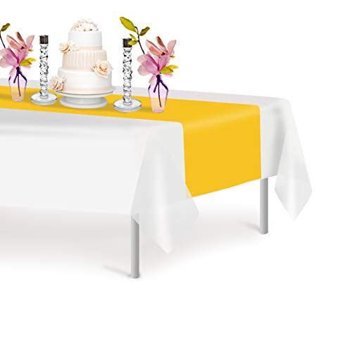 Yellow 6 Pack Premium Disposable Plastic Table Runner 14 x 108 Inch. Decorative Table Runner for Dinner Parties & Events, Decor By Grandipity (Runners Yellow)