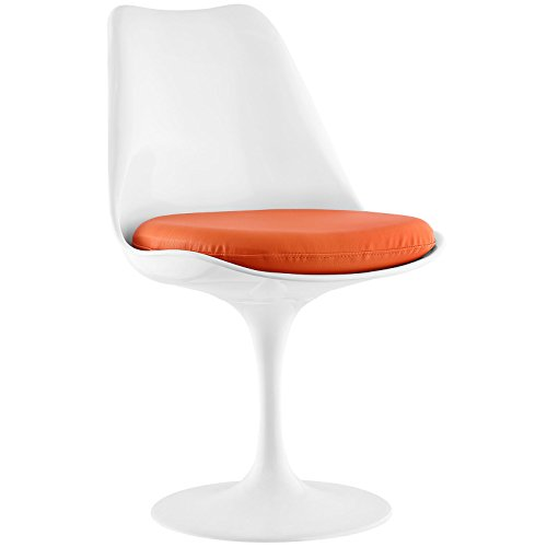 (Modway Lippa Modern Dining Side Chair With Faux Leather Cushion in Orange)