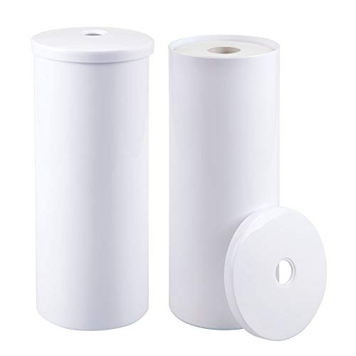 Toilet Tissue Hanging Holder (mDesign Modern Plastic Toilet Tissue Paper Roll Holder Canister Stand with Lid - Vertical Bathroom Storage for 3 Rolls of Toilet Tissue - Holds Large Mega Rolls - 2 Pack - White)