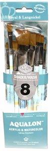 (Aqualon Royal and Langnickel Short Handle Paint Brush Set, Flat and Shader, 8-Piece)