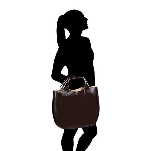 44x30x13 Borse Extraíble Cm Algodón Chicca Genuino De Con Mujer Interior Italy En Hombro Correa Y Cuero Made Bolsa In Oscuro Marron TUaUwd