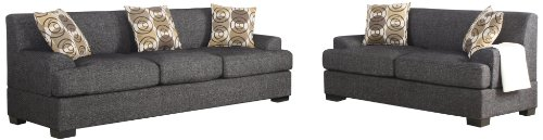 Poundex Montereal 2-Piece Sofa and Loveseat Collection Set with Faux Linen fabric, Ash Black Color by BOBKONA