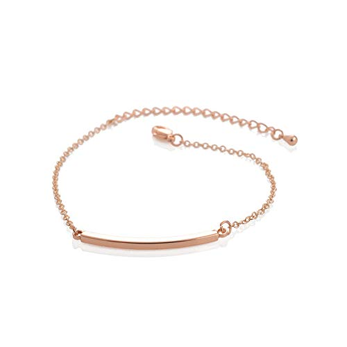 Simple Thin Stick Tube Curved Bar Bracelet Minimalism BFF Jewelry Stainless Steel Chain Women Pulseras (Rose - Tube Gold Bracelet