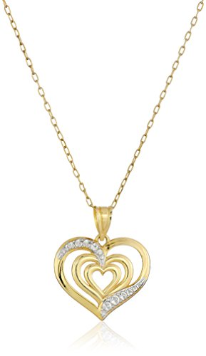 14k Yellow Gold-Plated Sterling Silver Polished Diamond-Cut Triple-Heart Pendant Necklace , 18""