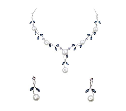 Faship Gorgeous Navy Blue CZ Crystal Freshwater Pearls Floral Necklace Earrings Set - Navy Blue