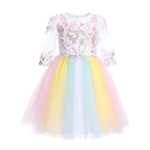(Flower Girl Rainbow Unicorn Dress up Costume Colorful Ruffle Tulle Skirt Birthday Dresses Tutu Outfit for Kids Party Formal Wedding Pageant Ball Gown Big Girls First Communion Prom Dress White 4-5Y)