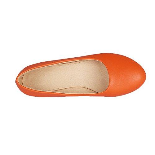 Donna AllhqFashion Punta Perla FBUIDC004933 Arancio Ballet Flats Tirare Chiusa Tacco Tessuto Basso OqrgBdTq