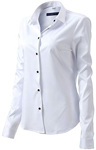 - White Office Shirts for Women, Slim Fit Button Down Shirts Blouses Top Size 8