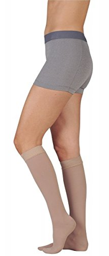 Juzo 3511MXADFF5SBSH10 V Dynamic Max 20-30 mmHg Full Foot Knee High Firm Compression Stockings With 5 cm Silicone Border In Short - Black44; V - Extra Large