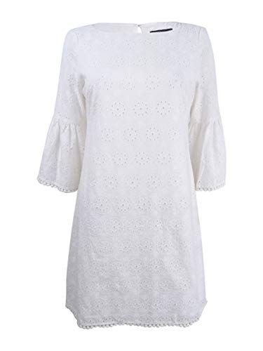 - Jessica Howard Womens Petites Eyelet Bell Sleeves Casual Dress White 4P