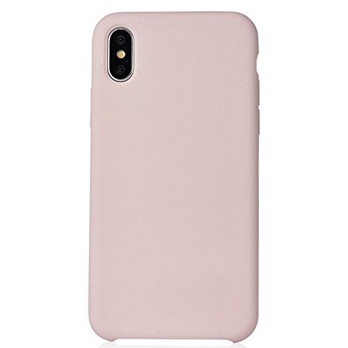 iPhone X Case, Manleno Liquid Silicone Gel Rubber Slim Fit Phone Case with Microfiber Cloth Lining Cushion for Apple iPhone X Edition (Pink (Silicone Skin Cover Curve)