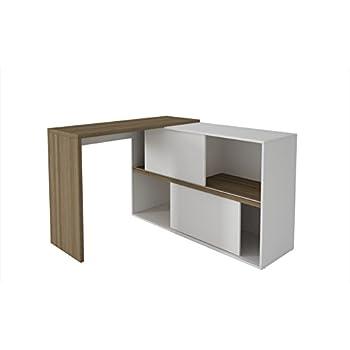 this item manhattan comfort bari bookcase desk collection versatile modern computer desk with storage whiteoak - Modern Computer Desk